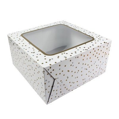 Box for Cakes 25cm METALLIC SPOT -Τετράγωνο Κουτί για Γλυκά Μεταλλικά Πουά 25εκ