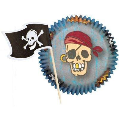 SALE!!! Wilton Themed Combo Pack -Pirate Pack 24 σετ πειρατικές θήκες ψησίματος με σημαίες 5εκ