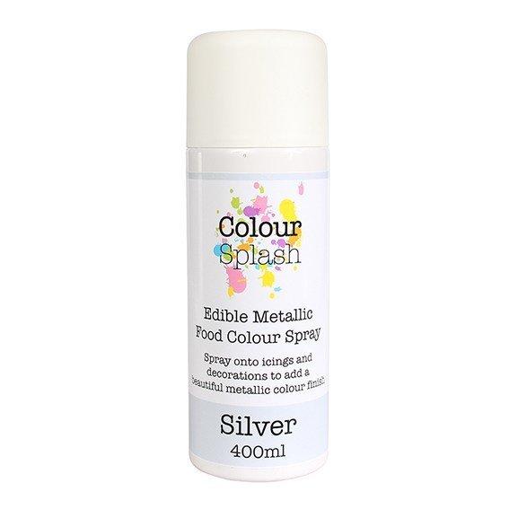 Colour Splash - Edible Food Colour Spray Mettalic Silver - Βρώσιμο Σπρέϊ με Χρώμα - Ασημί Μεταλλικό - 400ml