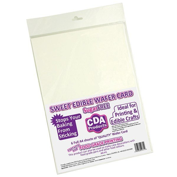 Sweet Sugar Free A4 THICK Wafer CARD pack of 6 τεμ.  Λεπτή χαρτί-Βάφλα 0.7mm