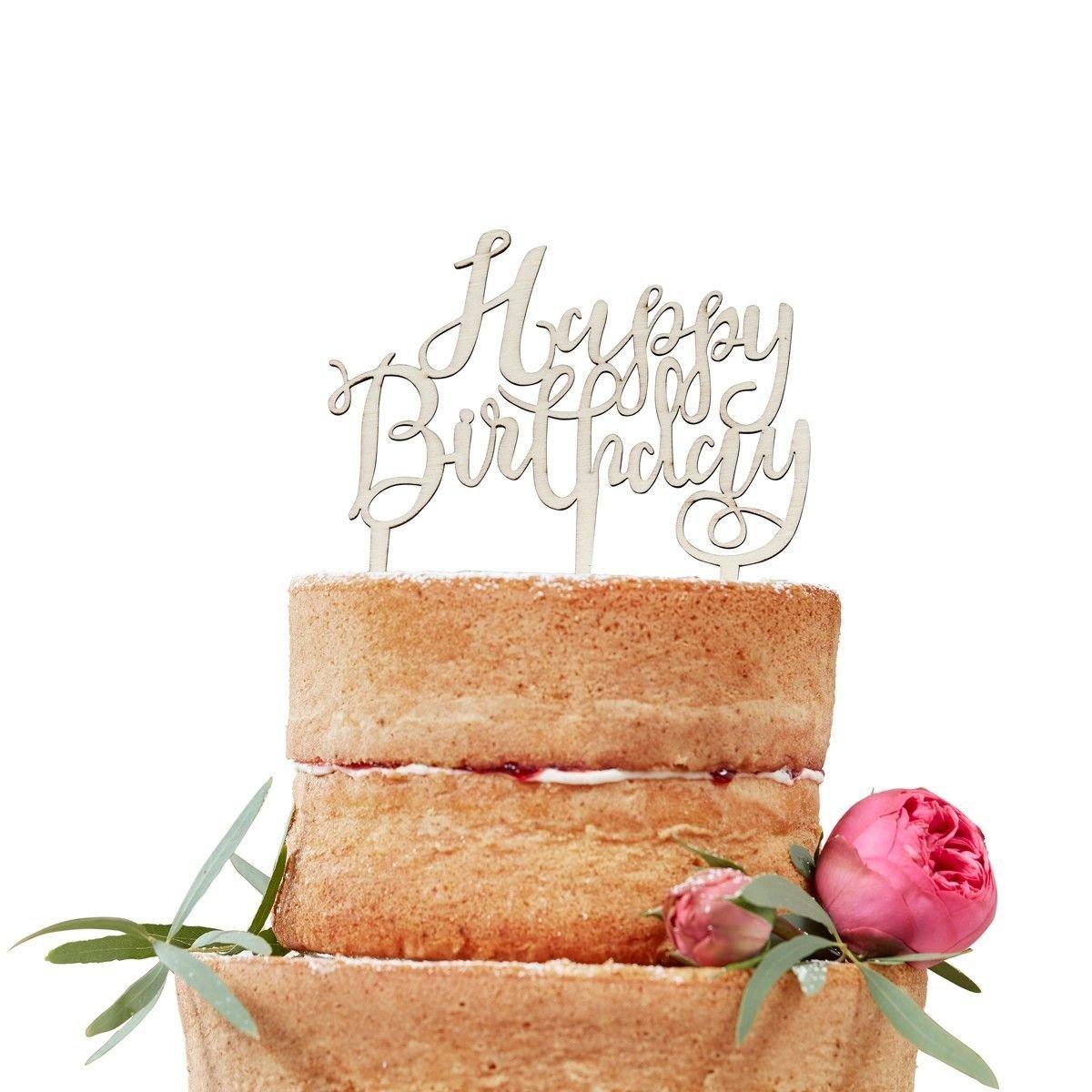 Ginger Ray Boho Wooden Topper -HAPPY BIRTHDAY -Τόπερ Ξύλινο Χαρούμενα Γενέθλια