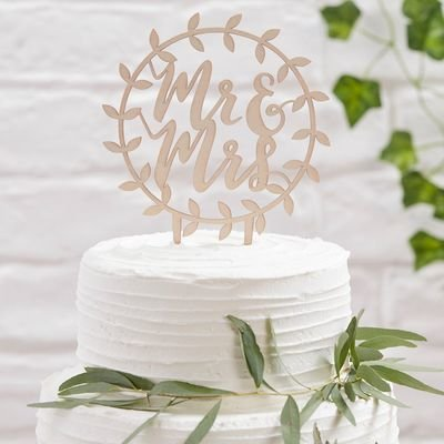 SALE!!! Ginger Ray Beautiful Botanics Wooden Topper -Mr & Mrs -Τόπερ Ξύλινο Κύριος & Κυρία