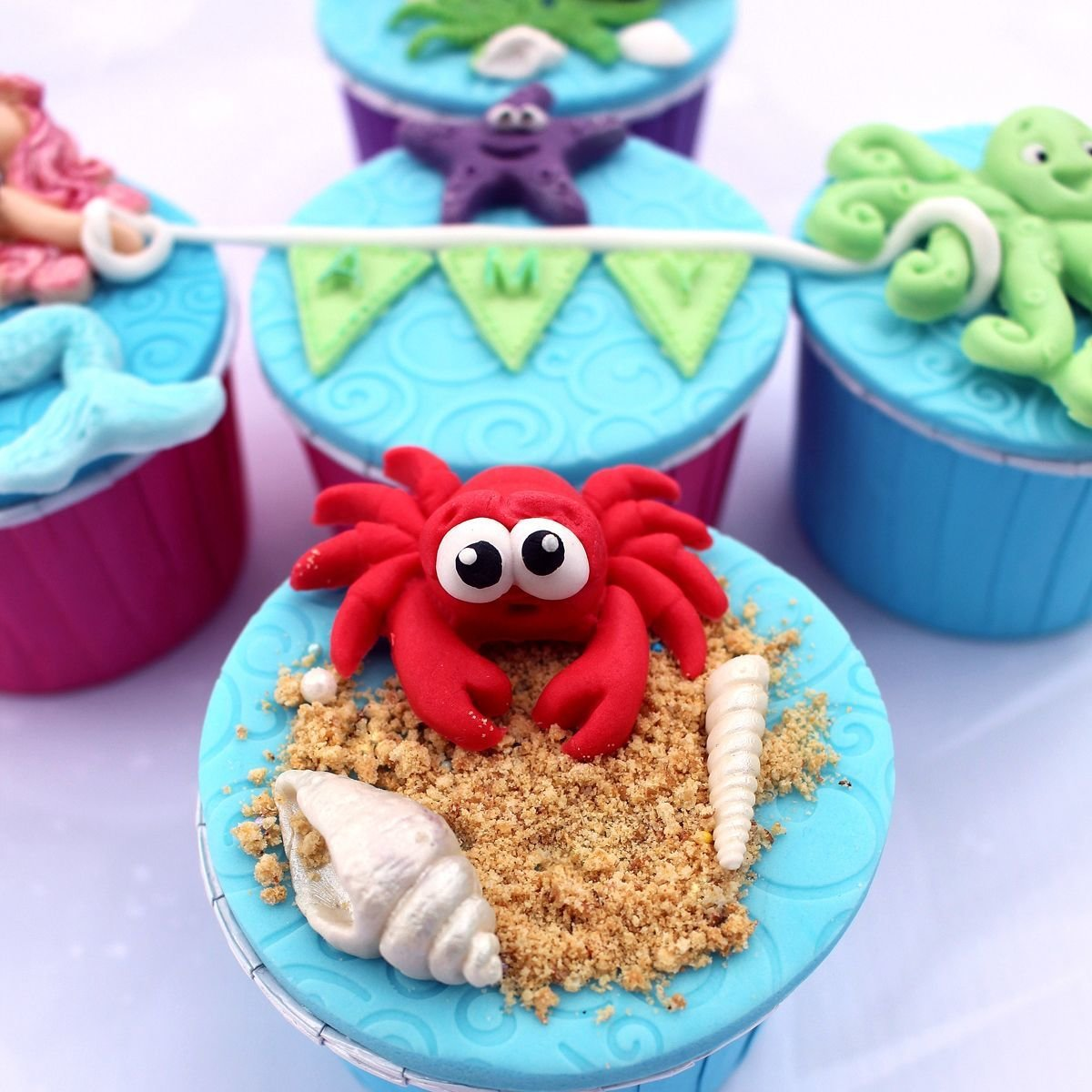 Katy Sue Silicone Mould -Sugar Buttons -CRAB & FISH -Καλούπι Καβούρι & Ψάρι