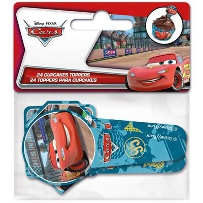Paper Cupcake Toppers Cars/Macqueen pack of 24 - Τόπερ για Κάπκεϊκ Καρς/Μακουίν - 24τεμ - Περίπου 8.5x3.5εκ