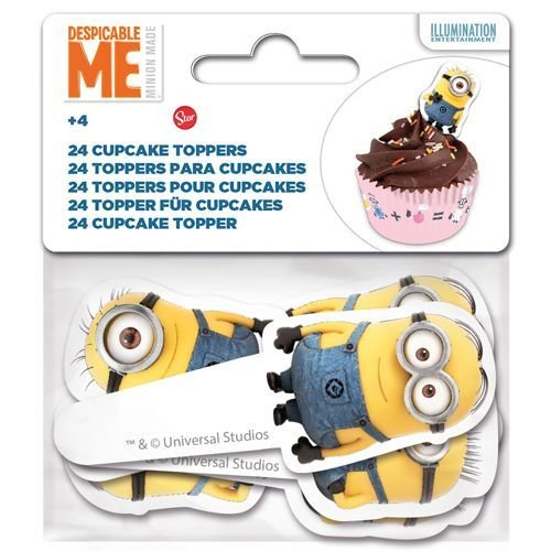 Paper Cupcake Toppers Minion pack of 24 - Τόπερ για Κάπκεϊκ Μινιόν - 24τεμ - Περίπου 8.5x3.5εκ