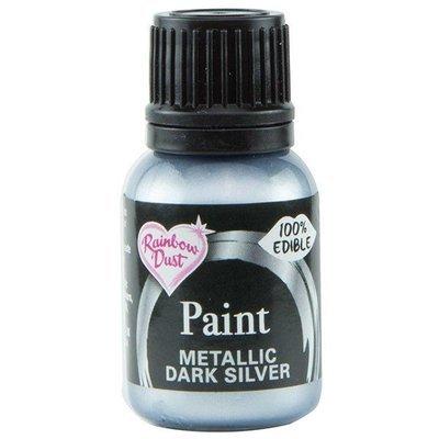 Rainbow Dust Edible Metallic Food Paints -DARK SILVER -Μεταλλικό Βρώσιμο Χρώμα Ζωγραφική -Σκούρο Ασημί 25ml