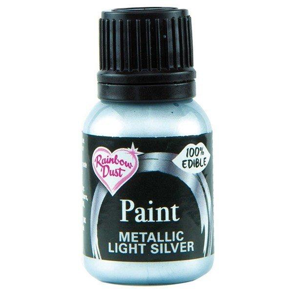 Rainbow Dust Edible Metallic Food Paints -LIGHT SILVER -Μεταλλικό Βρώσιμο Χρώμα Ζωγραφική -Απαλό Ασημί 25ml