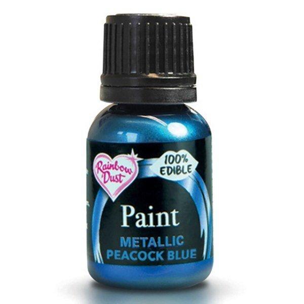 Rainbow Dust Edible Metallic Food Paints -PEACOCK BLUE -Μεταλλικό Βρώσιμο Χρώμα Ζωγραφική -Σκούρο Μπλε 25ml