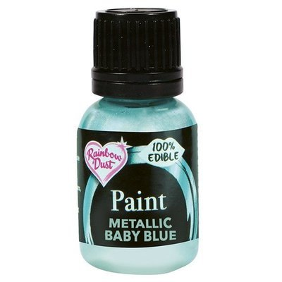 Rainbow Dust Edible Metallic Food Paints -PEARL BABY BLUE -Μεταλλικό Βρώσιμο Χρώμα Ζωγραφική -Περλέ Γαλάζιο 25ml