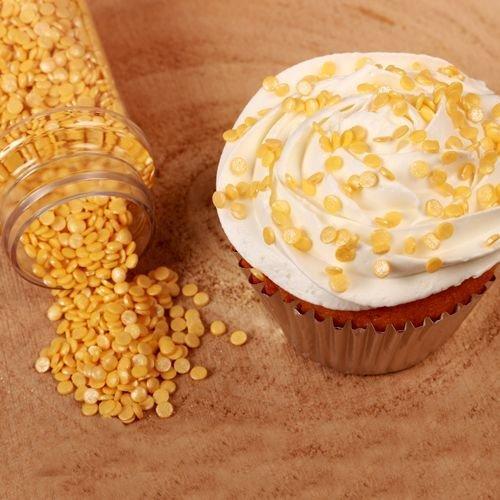 FunCakes Sprinkles -Confetti MINI METALLIC YELLOW -Κονφετί Κίτρινο Μεταλιζέ 70γρ
