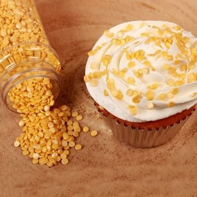 SALE!!! FunCakes Confetti Sprinkles -MINI METALLIC YELLOW -Κονφετί Κίτρινο Μεταλιζέ 70γρ