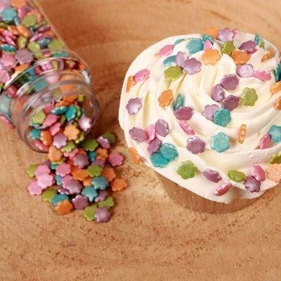 FunCakes Sprinkles -METALLIC FLOWER MIX -Κονφετί Λουλούδια Μεταλιζέ 70γρ