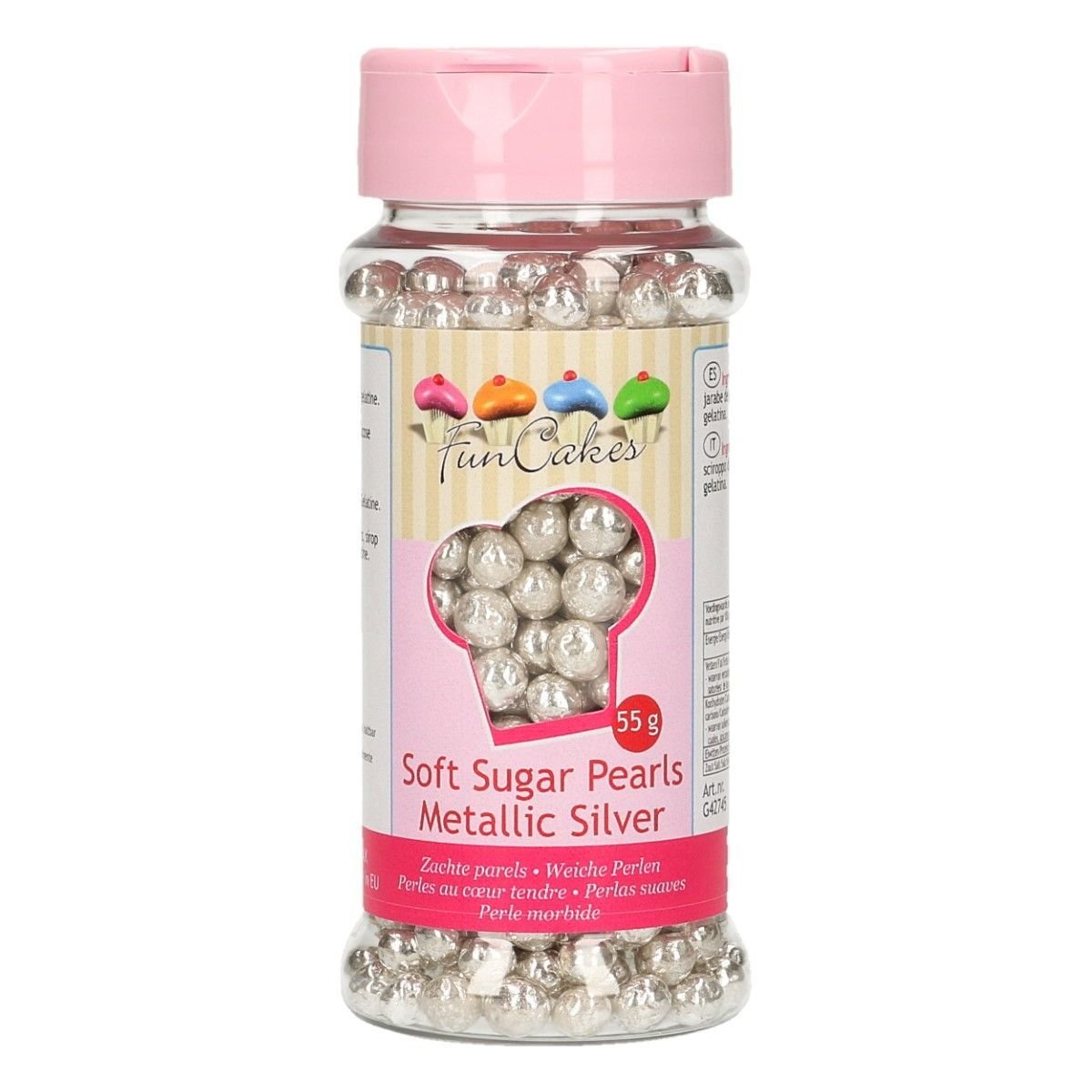 FunCakes Soft Pearls 4-6mm- Metallic Silver 55g