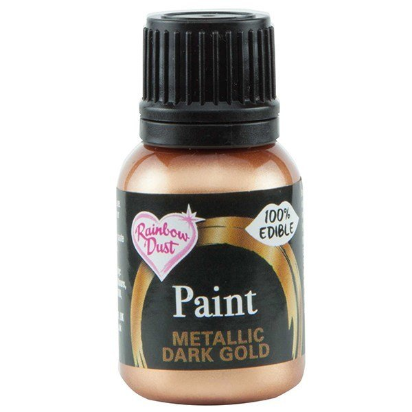 Rainbow Dust - Edible Metallic Food Paints Dark Gold - Μεταλλικό Βρώσιμο Χρώμα Ζωγραφικής Σκούρο Χρυσό - 25ml