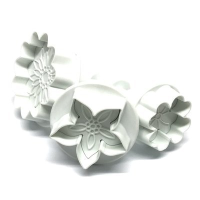 Plunger Cutters Flower Mix 3pcs - Κουπάτ με Εκβολέα Λουλούδια - 3τεμ/πακέτο - 2.8 + 3.5 + 4.5εκ