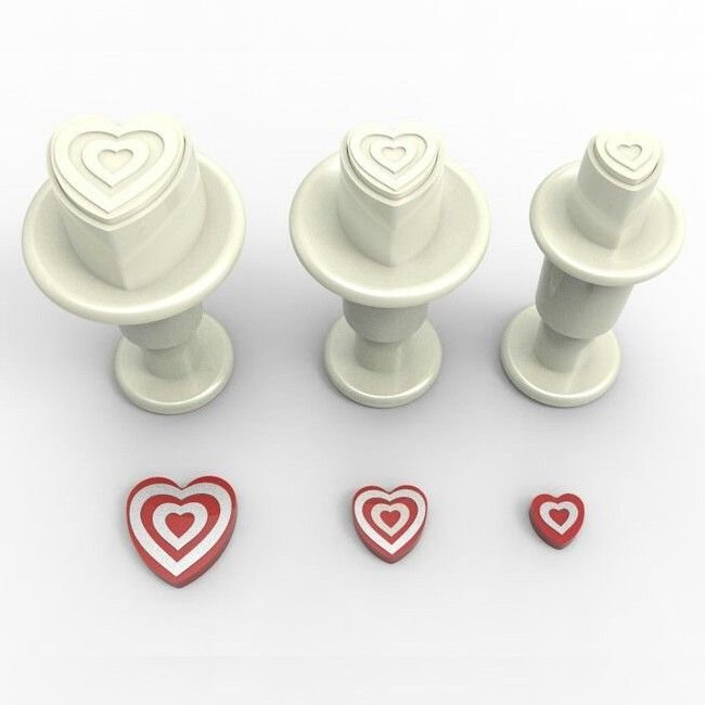 Plunger Cutter MINI STRIPED HEARTS Set of 3