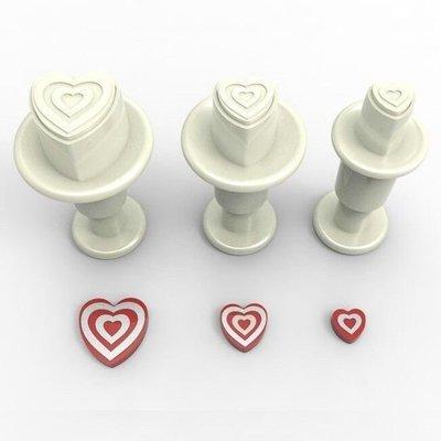 Dekofee Plunger Cutter -MINI STRIPED HEARTS -Κουπάτ με Εκβολέα Μίνι Ριγέ Καρδούλες