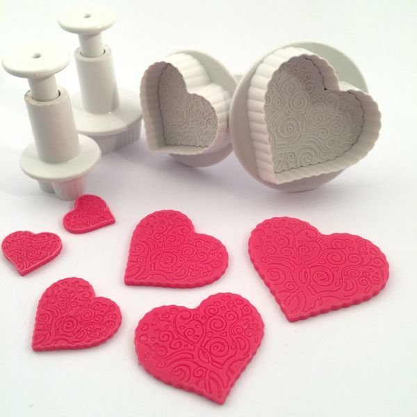 Plunger Cutters PATTERNED HEARTS Set of 4