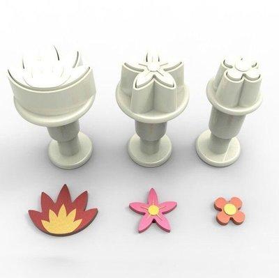 Plunger Cutter Mini Flower Mix 3pcs - Κουπάτ με Εκβολέα Μίνι Λουλουδάκια - 3τεμ/πακέτο - 1.1 + 1.6 + 2.2εκ
