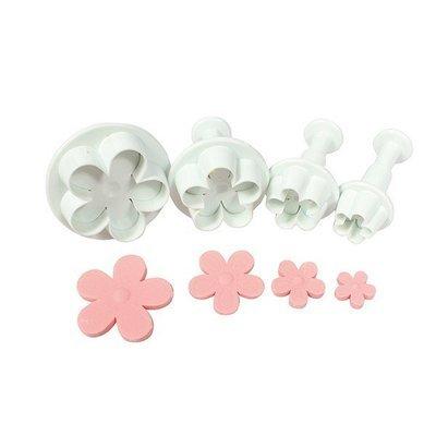 Cake Star Plunger Cutters -Five Petal Flower -Set of 4 -Kουπάντ Λουλούδι με 5 Πέταλα -4 τεμ.