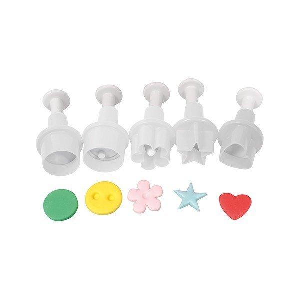 Cake Star Plunger Cutters -MINI GEOMETRIC SHAPES -Kουπάντ Μικρά Γεωμετρικά Σχέδια με Εκβολέα 5 τεμ.