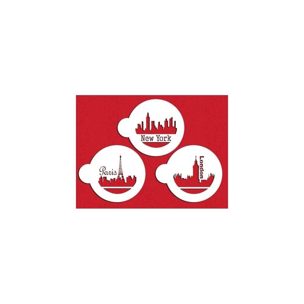SALE!!! Designer Stencils - Paris, London & New York Skyline - Στένσιλ Πόλεις στον ορίζοντα Παρίσι, Λονδίνο, Νέα Υόρκη - Περίπου 3.5εκ