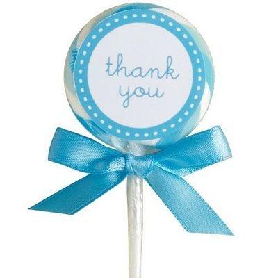 SALE!!! Wilton Lollipop Kit -'Thank You' Set of 24 -BLUE γλειφιτζούρια με μηνύματα 24τεμ 4.4εκ