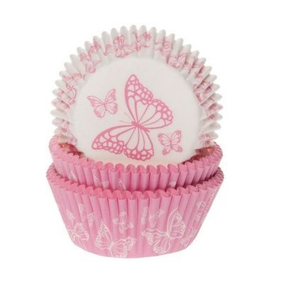 House of Marie -Cupcake Cases -BUTTERFLY PINK -Θήκες Ψησίματος -Ροζ Πεταλούδες 50 τεμ