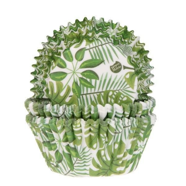 House of Marie Cupcake Cases -GREEN LEAVES -Θήκες Ψησίματος Πράσινα Φύλλα 50 τεμ