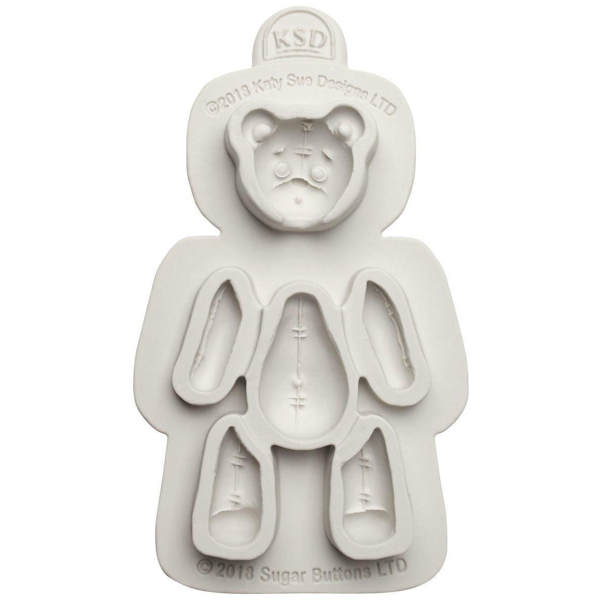 Katy Sue Mould Sugar Buttons -Stitched Teddy Bear -Καλούπι Αρκουδάκι Ραμμένο
