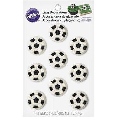 Wilton Football (Soccer Ball) Icing Decorations pack of 9 βρώσιμα διακοσμητικά ζαχαρωτά ποδοσφαιρική μπάλα