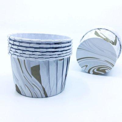 Culpitt Cupcake Baking Cups -MARBLE SILVER & GOLD -Κυπελάκια Ψησίματος Εφέ Μάρμαρο Ασημί & Χρυσό 24 τεμ