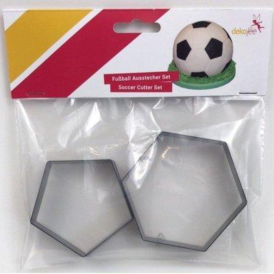 Dekofee - Hexagon & Pentagon Set of 2 Large Cutters for 20cm Diameter Ball - Μεγάλα Κουπάτ Εξάγωνο & Πεντάγωνο - Σχήμα Μπάλα Ποδοσφαίρου - 2τεμ/πακέτο - Περίπου 8.8εκ + 7εκ