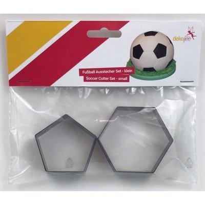 Dekofee - Hexagon & Pentagon Set of 2 Small Cutters for 15cm Diameter Ball - Μικρά Κουπάτ Εξάγωνο & Πεντάγωνο - Σχήμα Μπάλα Ποδοσφαίρου - 2τεμ/πακέτο - Περίπου 7.8εκ + 5εκ