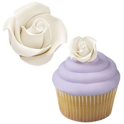 Wilton Icing Decorations -WHITE ROSES -MEDIUM -Βρώσιμα λευκά τριαντάφυλλα έτοιμα προς στόλισμα 8 τεμ.