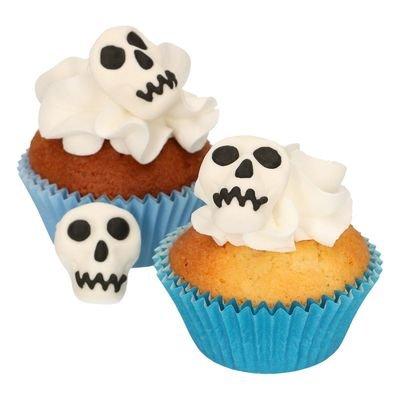 FunCakes - Sugar Paste Decorations Skulls Set of 8 - Βρώσιμα Ζαχαρωτά Νεκροκεφαλές - 8τεμ/πακέτο - 2x2.5εκ