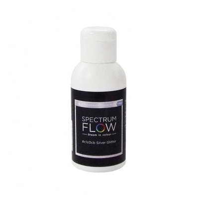 Spectrum Flow Edible Airbrush Paint -SILVER GLITTER -Χρώμα Αερογράφου 100ml γκλίτερ ασημί