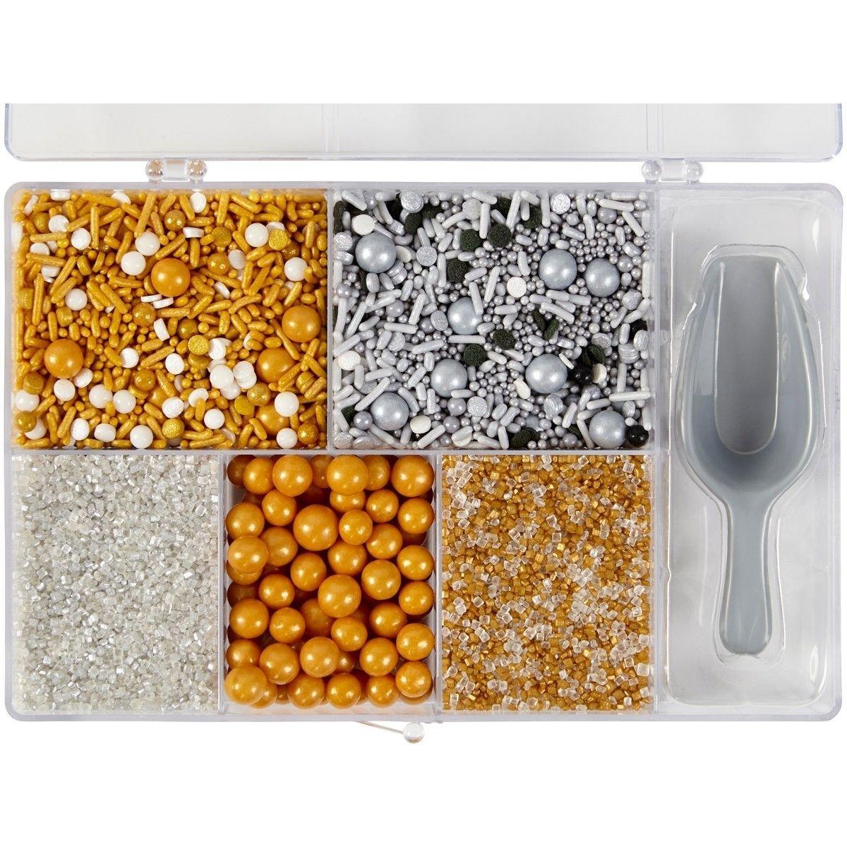 Wilton Christmas Sprinkles -Tackle Box Metallic 5 διαφορετικές βρώσιμες ζαχαρένιες διακοσμητικές λιχουδιές σε κουτάκι