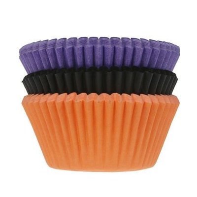 House of Marie Cupcake Cases -HALLOWEEN -PURPLE, BLACK & ORANGE -Θήκες Ψησίματος -Χάλογουϊν Μωβ, Μαύρο, Πορτοκαλί 75 τεμ