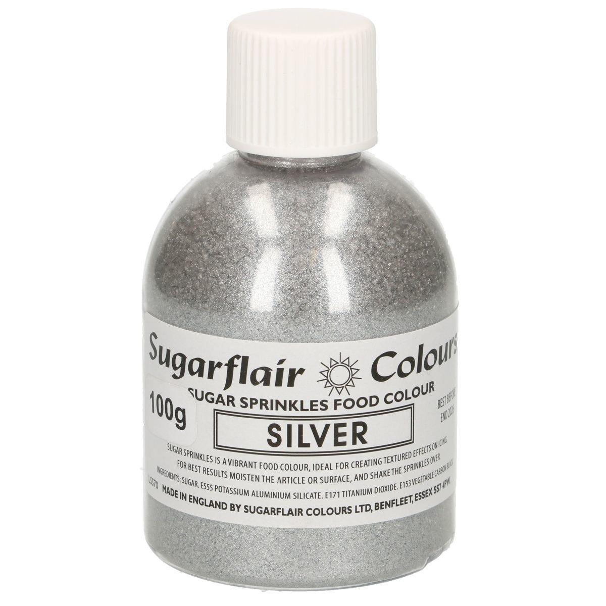 Sugarflair -Sparkling Sugar Sprinkles -SILVER 100g ΖΑΧΑΡΗ -ΑΣΗΜΙ