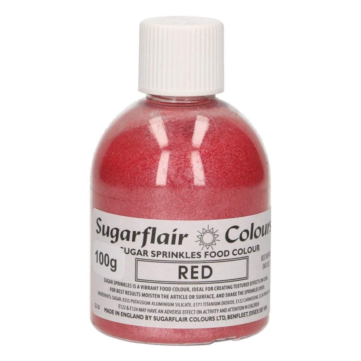 Sugarflair -Sparkling Sugar Sprinkles -RED 100g ΖΑΧΑΡΗ -Κόκκινη