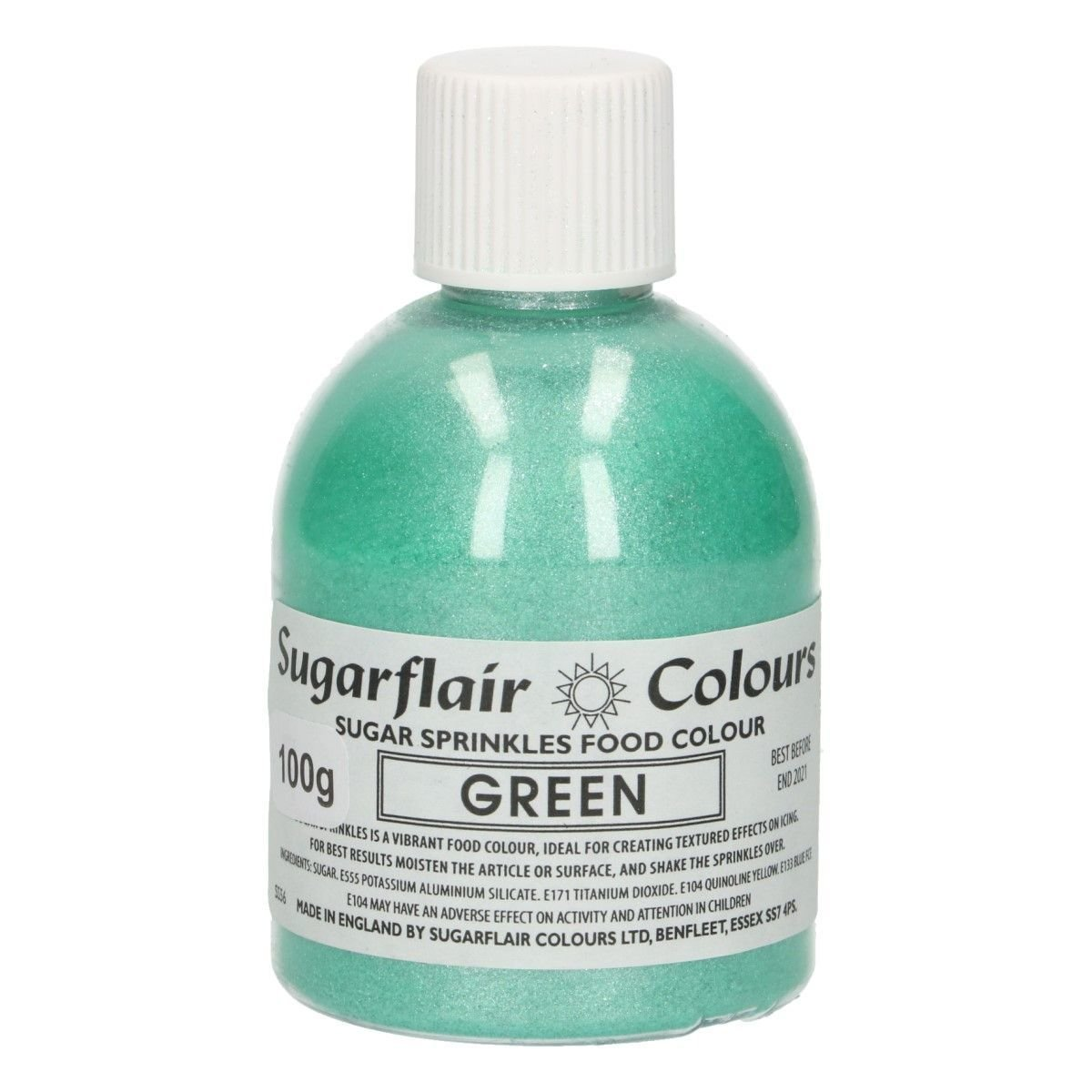 Sugarflair -Sparkling Sugar Sprinkles -GREEN 100g ΖΑΧΑΡΗ -Πράσινη