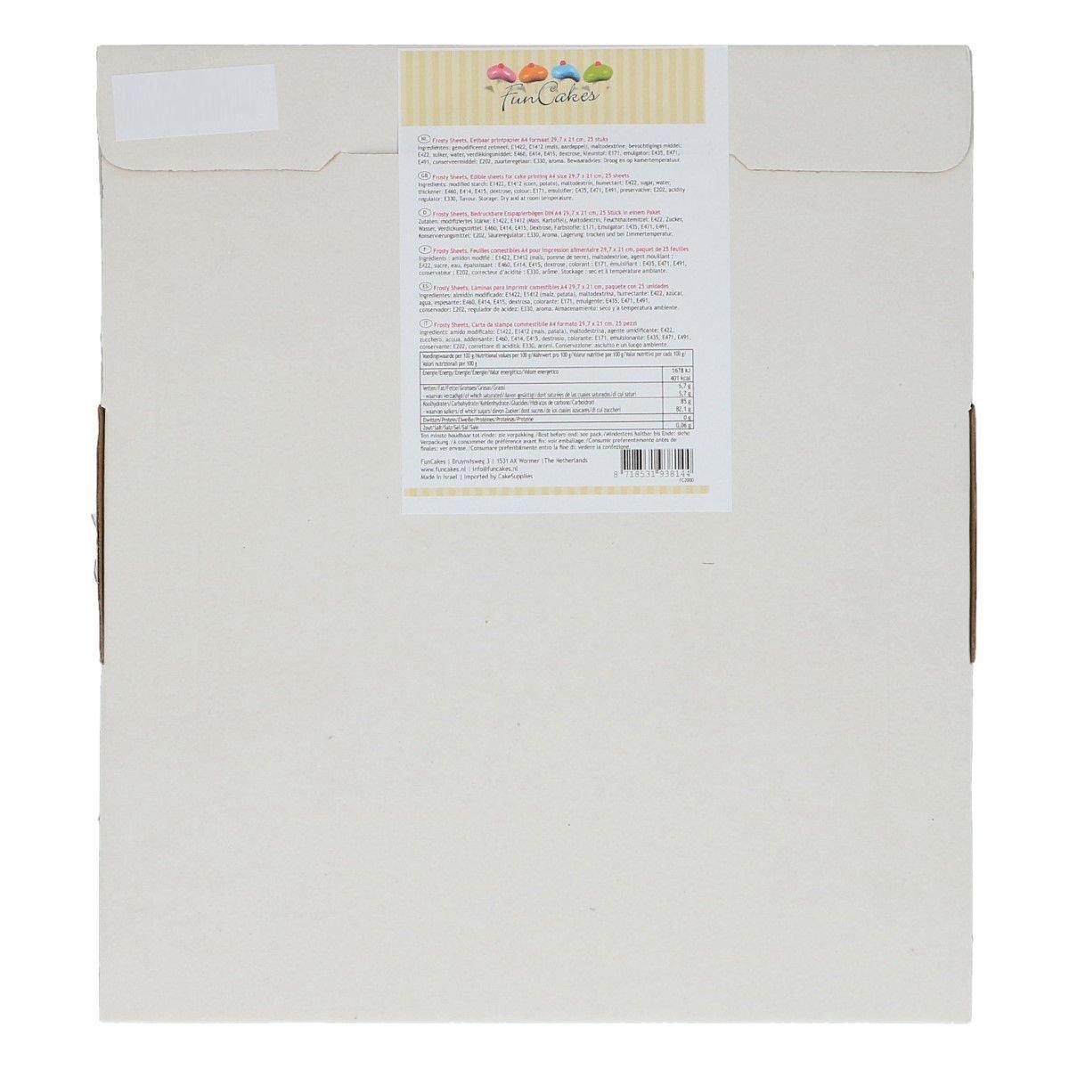 FunCakes - Frosty A4 Sheets 25pcs - Βρώσιμα Φύλλα Ζαχαρόπαστας Α4 για Εκτύπωση - 25 φύλλα - 29.7x21εκ