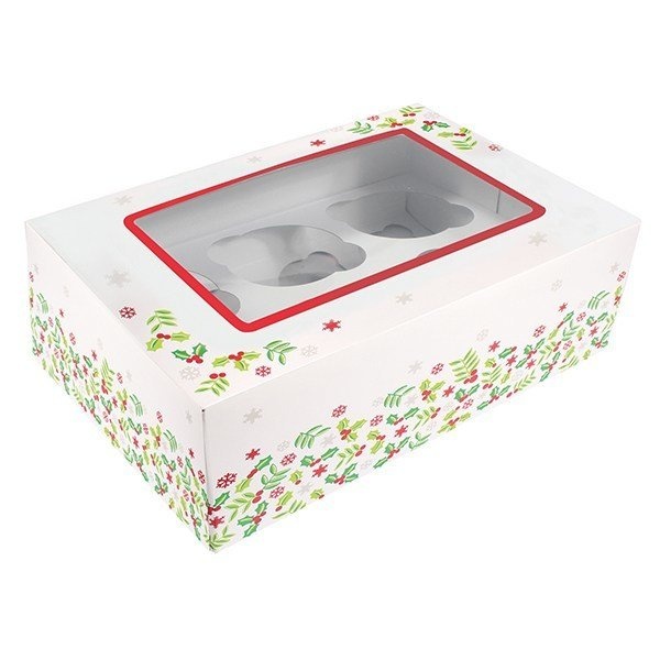 Box for 6 Cupcakes or 12 Mini Cupcakes - Christmas Holly 24x16.5cm - Κουτί Χριστουγεννιάτικος Πρίνος για 6 Cupcakes ή 12 Mini Cupcakes - 24x16,5εκ