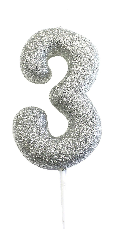 By AH - Candles - Glitter Silver 3 - Κεράκι Ασημί Γκλίτερ αριθμός 3 (Τρία) - 2,5εκ