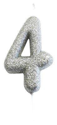 By AH -Candles -GLITTER SILVER '4' -Κεράκι Ασημί Γκλίτερ αριθμός '4'