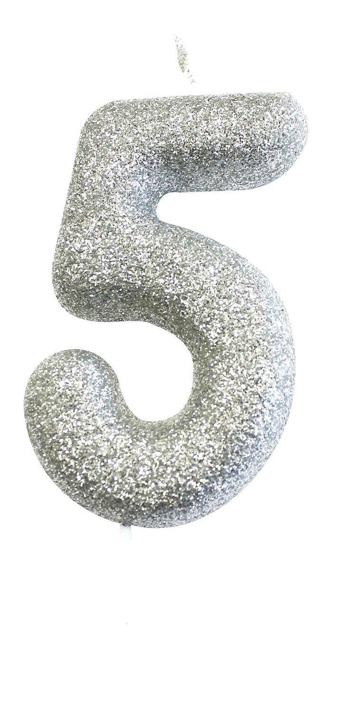 By AH -Candles -GLITTER SILVER '5' -Κεράκι Ασημί Γκλίτερ αριθμός '5'