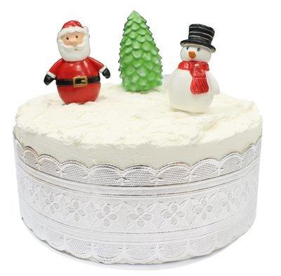 SALE!!! By AH  Luxury Cake Decorating set of 4 - Santa, Snowman, Tree & Silver Cake Ribbon -Πολυτελείς σετ Διακ/σης  - Άγιος Βασίλης, Χιονάνθρωπος, Δεντράκι & Ασημί Κορδέλα - σετ 4 Τεμαχίων