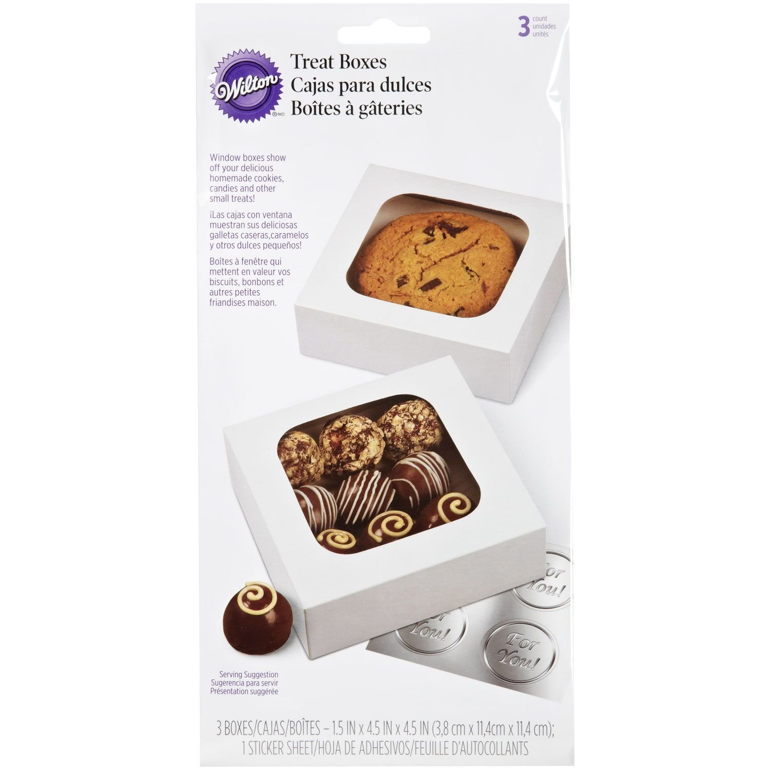 Wilton Boxes -SMALL Treat Boxes -White pack of 3