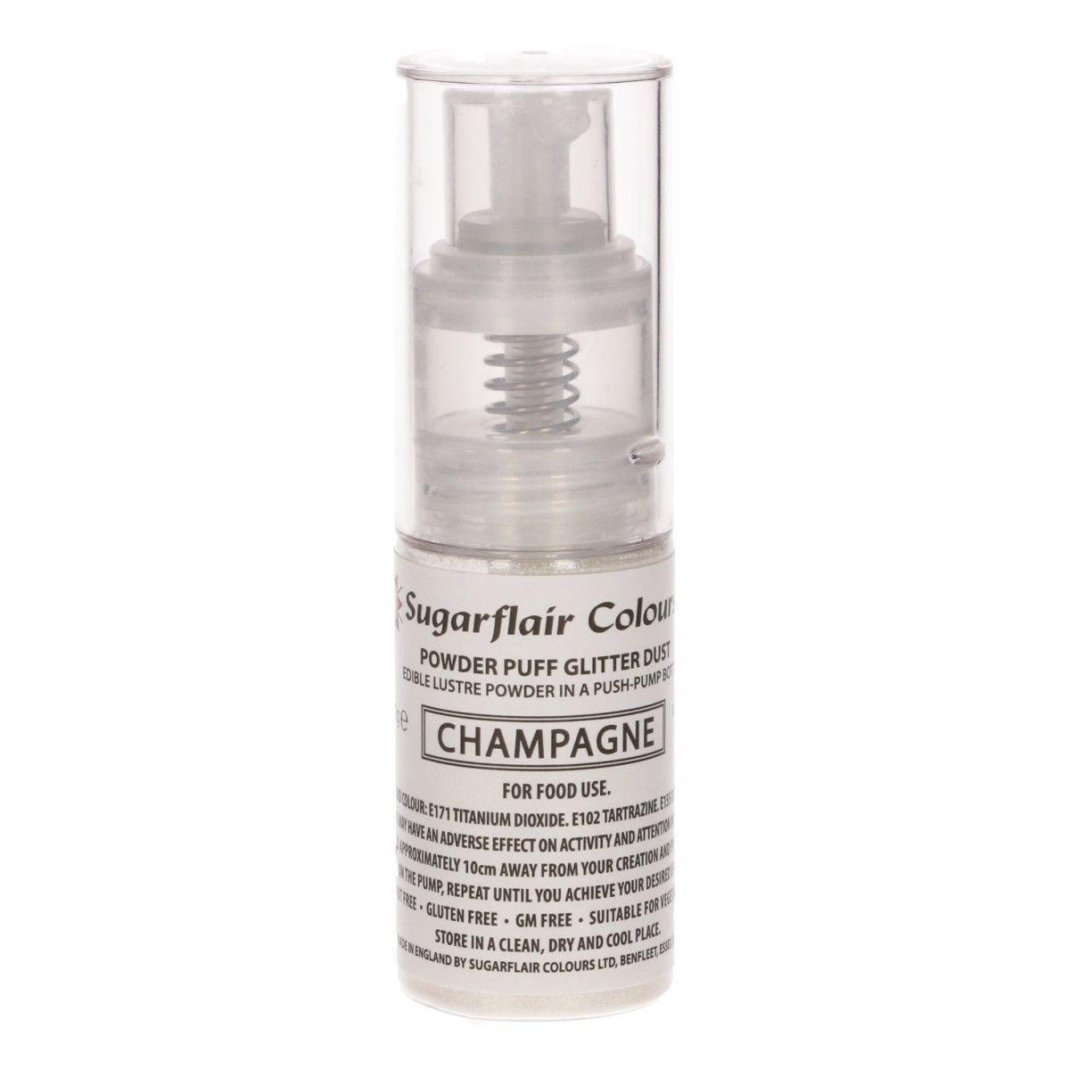 Sugarflair Powder Puff Glitter Dust Pump Spray - Champagne 10g -  Βρώσιμο γκλίτερ σαμπανιζέ σε αντλία